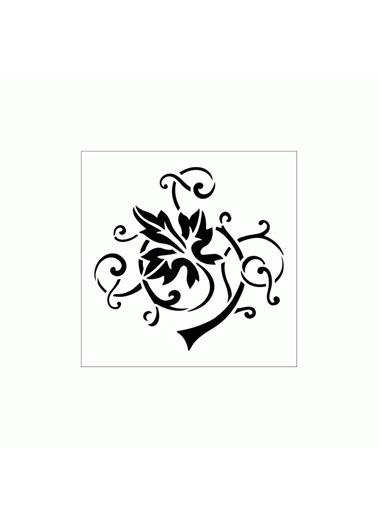 Artikel Üzüm Sarmaşığı Stencil Tasarımı 30 x 30 cm Renkli